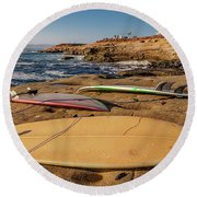 The Boards Round Beach Towel by Peter Tellone