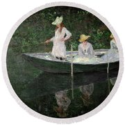 The Boat At Giverny Round Beach Towel by Claude Monet