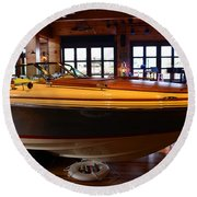 The Boathouse Interior Work 2 Round Beach Towel
