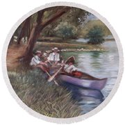 The Boating Men Round Beach Towel