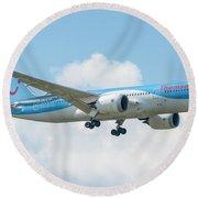 The Boeing 787-8 G-tuif Landing Thomson Tui Airline Round Beach Towel