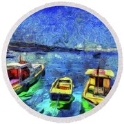 The Bosphorus Istanbul Art Round Beach Towel