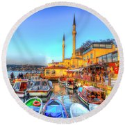 The Bosphorus Istanbul Round Beach Towel