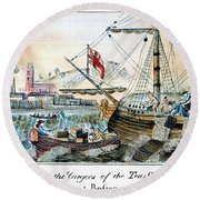 The Boston Tea Party, 1773 Round Beach Towel