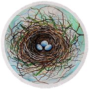 The Botanical Bird Nest Round Beach Towel