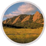 The Boulder Flatirons Round Beach Towel