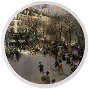The Boulevard Des Italiens Round Beach Towel