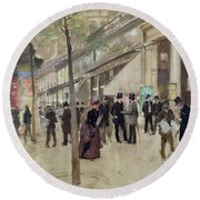 The Boulevard Montmartre And The Theatre Des Varietes Round Beach Towel