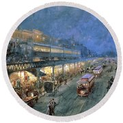 The Bowery At Night Round Beach Towel by William Sonntag