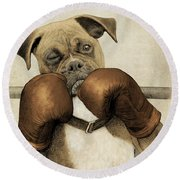 The Boxer Round Beach Towel by Eric Fan