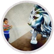 The Boy And The Lion 10 Round Beach Towel
