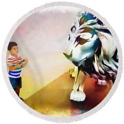 The Boy And The Lion 11 Round Beach Towel