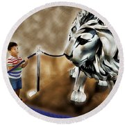 The Boy And The Lion 13 Round Beach Towel