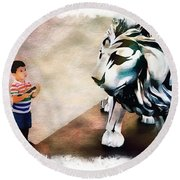 The Boy And The Lion 9 Round Beach Towel