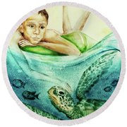 The Boy And The Turtle Round Beach Towel