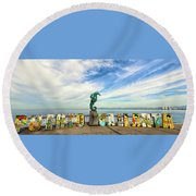 The Boy On The Seahorse Pano Round Beach Towel