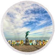 The Boy On The Seahorse Round Beach Towel