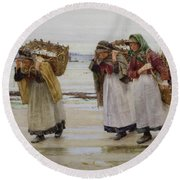 The Breadwinners Or Newlyn Fishwives Round Beach Towel