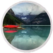 The Breathtakingly Beautiful Lake Louise Banff National Park Round Beach Towel