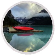 The Breathtakingly Beautiful Lake Louise II Round Beach Towel