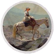 The Bridal Path Round Beach Towel by Winslow Homer