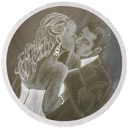 The Bride And Groom Round Beach Towel