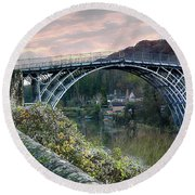 The Bridge Across The Severn Gorge Round Beach Towel