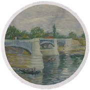 The Bridge At Courbevoie Paris, May - July 1887 Vincent Van Gogh 1853  1890 Round Beach Towel