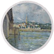 The Bridge At Saint Cloud Round Beach Towel