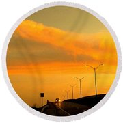 The Bridge At Sunset Round Beach Towel