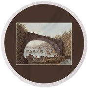 The Bridge At The Border Between France And Savoy Round Beach Towel