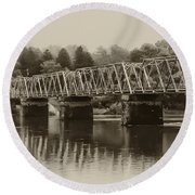 The Bridge At Washingtons Crossing Round Beach Towel by Bill Cannon