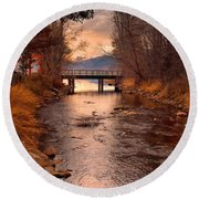 The Bridge By The Lake Round Beach Towel