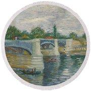 The Bridge Of Courbevoie, Paris Round Beach Towel