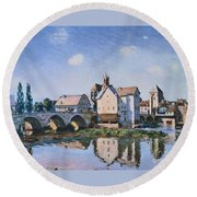 The Bridge Of Moret In The Sunlight Round Beach Towel