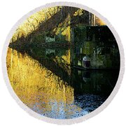 The Bridge On The River And Its Shadow. Round Beach Towel