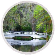 The Bridges In Magnolia Gardens Round Beach Towel