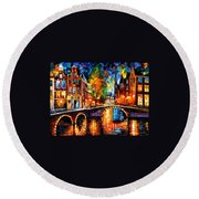 The Bridges Of Amsterdam Round Beach Towel
