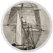The Brig Hms Beagle From Journal Of Round Beach Towel