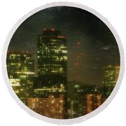 The Bright City Lights Round Beach Towel