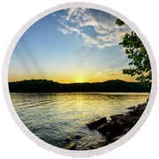 The Brink Of Night Round Beach Towel