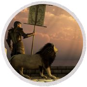 The Bronze Knight Of The Isle Of Lions Round Beach Towel