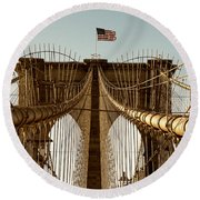 The Brooklyn Bridge Flag Round Beach Towel