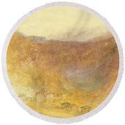 The Brunig Pass From Meiringen Round Beach Towel