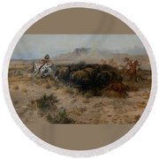 The Buffalo Hunt Round Beach Towel