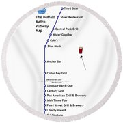 The Buffalo Pubway Map Round Beach Towel