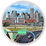 The Buildings Of Boston Round Beach Towel