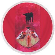 The Bull Fight  No.1 Round Beach Towel