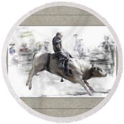 The Bull Rider Round Beach Towel