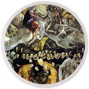 The Burial Of The Count Of Orgaz 1587 Round Beach Towel